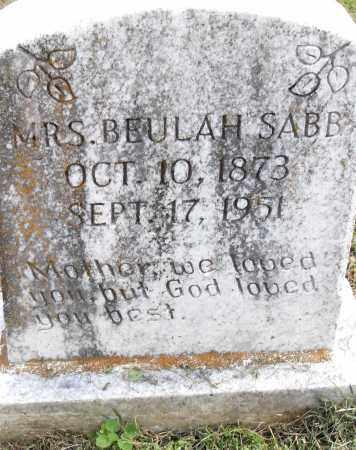 SABB, BEULAH - Pulaski County, Arkansas | BEULAH SABB - Arkansas Gravestone Photos