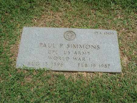SIMMONS (VETERAN WWI), PAUL P - Pulaski County, Arkansas | PAUL P SIMMONS (VETERAN WWI) - Arkansas Gravestone Photos