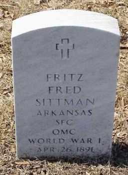 SITTMAN  (VETERAN WWI), FRITZ FRED - Pulaski County, Arkansas   FRITZ FRED SITTMAN  (VETERAN WWI) - Arkansas Gravestone Photos