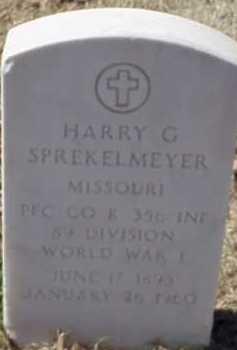 SPREKELMEYER  (VETERAN WWI), HARRY G - Pulaski County, Arkansas   HARRY G SPREKELMEYER  (VETERAN WWI) - Arkansas Gravestone Photos