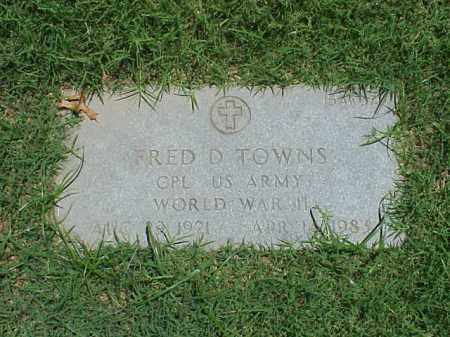TOWNS (VETERAN WWII), FRED D - Pulaski County, Arkansas | FRED D TOWNS (VETERAN WWII) - Arkansas Gravestone Photos