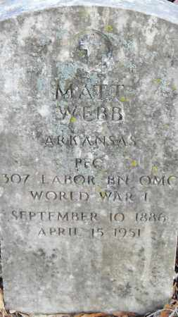 WEBB (VETERAN WWI), MATT - Pulaski County, Arkansas   MATT WEBB (VETERAN WWI) - Arkansas Gravestone Photos