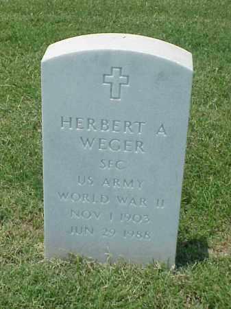 WEGER (VETERAN WWII), HERBERT A - Pulaski County, Arkansas   HERBERT A WEGER (VETERAN WWII) - Arkansas Gravestone Photos
