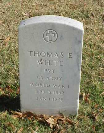 WHITE (VETERAN WWI), THOMAS E - Pulaski County, Arkansas   THOMAS E WHITE (VETERAN WWI) - Arkansas Gravestone Photos