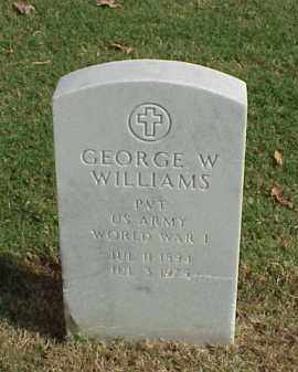 WILLIAMS (VETERAN WWI), GEORGE W - Pulaski County, Arkansas | GEORGE W WILLIAMS (VETERAN WWI) - Arkansas Gravestone Photos