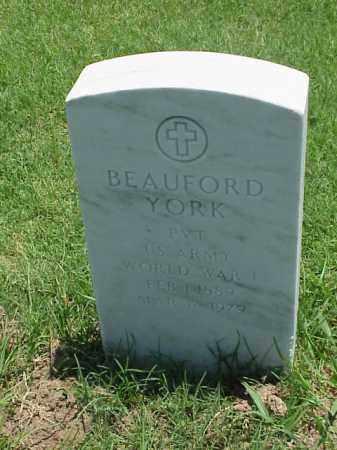 YORK (VETERAN WWI), BEAUFORD - Pulaski County, Arkansas   BEAUFORD YORK (VETERAN WWI) - Arkansas Gravestone Photos