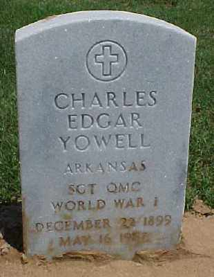 YOWELL (VETERAN WWI), CHARLES EDGAR - Pulaski County, Arkansas | CHARLES EDGAR YOWELL (VETERAN WWI) - Arkansas Gravestone Photos