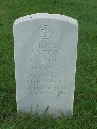 ZUENDT (VETERAN WWI), FRITZ ANTON - Pulaski County, Arkansas | FRITZ ANTON ZUENDT (VETERAN WWI) - Arkansas Gravestone Photos