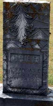 GRIER, ARKANSAS E - Randolph County, Arkansas | ARKANSAS E GRIER - Arkansas Gravestone Photos