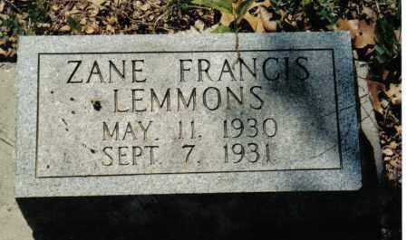 LEMMONS, ZANE FRANCIS - Randolph County, Arkansas | ZANE FRANCIS LEMMONS - Arkansas Gravestone Photos