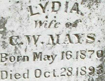 MAYS, LYDIA (CLOSE UP) - Randolph County, Arkansas | LYDIA (CLOSE UP) MAYS - Arkansas Gravestone Photos
