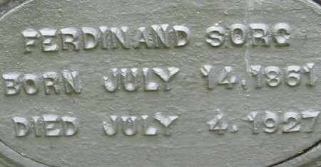 SORG, FERDINAND  CLOSE UP - Randolph County, Arkansas | FERDINAND  CLOSE UP SORG - Arkansas Gravestone Photos
