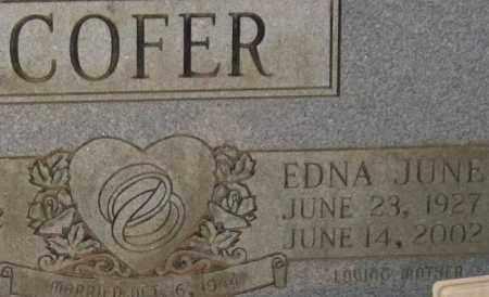 COFER, EDNA JUNE (CLOSEUP) - Saline County, Arkansas | EDNA JUNE (CLOSEUP) COFER - Arkansas Gravestone Photos
