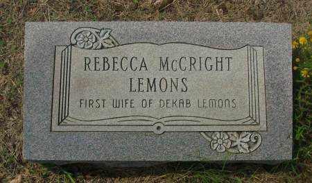 MCCRIGHT LEMONS, REBECCA - Saline County, Arkansas | REBECCA MCCRIGHT LEMONS - Arkansas Gravestone Photos