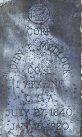 MEDLOCK (VETERAN CSA), JOHN F - Saline County, Arkansas | JOHN F MEDLOCK (VETERAN CSA) - Arkansas Gravestone Photos