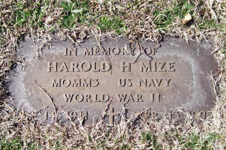 MIZE (VETERAN WWII), HAROLD H. - Saline County, Arkansas   HAROLD H. MIZE (VETERAN WWII) - Arkansas Gravestone Photos