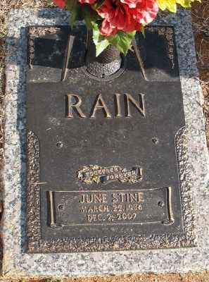 STINE RAIN, JUNE - Saline County, Arkansas | JUNE STINE RAIN - Arkansas Gravestone Photos