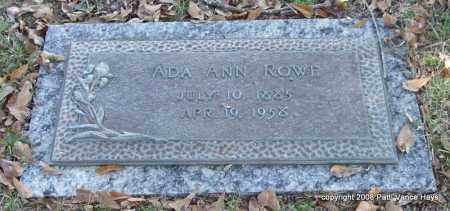 ROWE, ADA ANN - Saline County, Arkansas | ADA ANN ROWE - Arkansas Gravestone Photos