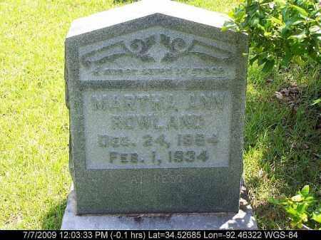 ROWLAND, MARTHA ANN - Saline County, Arkansas   MARTHA ANN ROWLAND - Arkansas Gravestone Photos