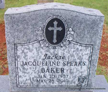 "SPEAKS BAKER, JACQUELINE ""JACKIE"" - Scott County, Arkansas | JACQUELINE ""JACKIE"" SPEAKS BAKER - Arkansas Gravestone Photos"