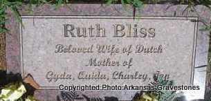 BLISS, RUTH   (2ND  STONE) - Scott County, Arkansas   RUTH   (2ND  STONE) BLISS - Arkansas Gravestone Photos
