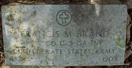 BRAND  (VETERAN CSA), FRANCIS M - Scott County, Arkansas | FRANCIS M BRAND  (VETERAN CSA) - Arkansas Gravestone Photos