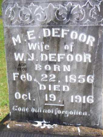 DEFOOR, M  E - Scott County, Arkansas   M  E DEFOOR - Arkansas Gravestone Photos