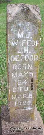 DEFOOR, M J - Scott County, Arkansas | M J DEFOOR - Arkansas Gravestone Photos