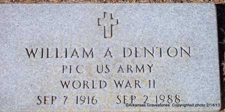 DENTON  (VETERAN WWII), WILLIAM A - Scott County, Arkansas   WILLIAM A DENTON  (VETERAN WWII) - Arkansas Gravestone Photos