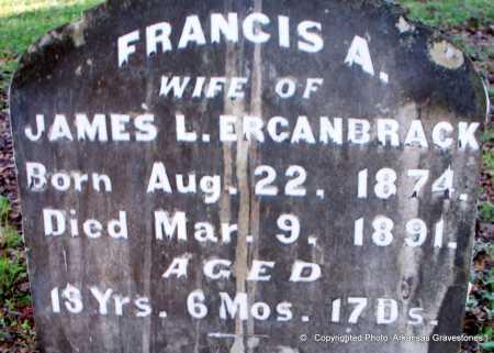 ERCANBRACK, FRANCIS A  (CLOSEUP) - Scott County, Arkansas | FRANCIS A  (CLOSEUP) ERCANBRACK - Arkansas Gravestone Photos