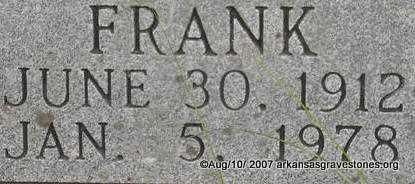 FORREST, FRANK  (CLOSEUP) - Scott County, Arkansas   FRANK  (CLOSEUP) FORREST - Arkansas Gravestone Photos