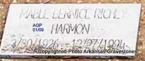 RICHEY HARMON, MABLE BERNICE - Scott County, Arkansas | MABLE BERNICE RICHEY HARMON - Arkansas Gravestone Photos