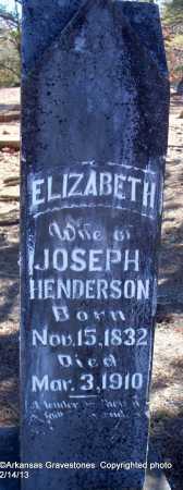 HENDERSON, ELIZABETH - Scott County, Arkansas   ELIZABETH HENDERSON - Arkansas Gravestone Photos