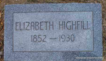 HIGHFILL, ELIZABETH - Scott County, Arkansas | ELIZABETH HIGHFILL - Arkansas Gravestone Photos