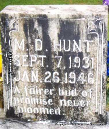 HUNT, M  D - Scott County, Arkansas | M  D HUNT - Arkansas Gravestone Photos