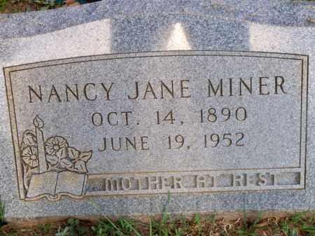 MINER, NANCY JANE - Scott County, Arkansas | NANCY JANE MINER - Arkansas Gravestone Photos