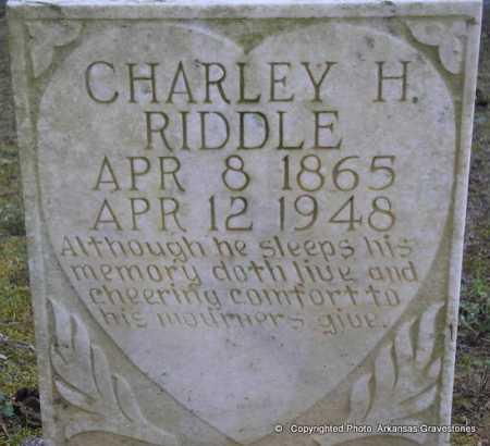 RIDDLE, CHARLEY H - Scott County, Arkansas | CHARLEY H RIDDLE - Arkansas Gravestone Photos