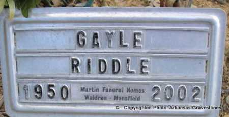 RIDDLE, GAYLE - Scott County, Arkansas | GAYLE RIDDLE - Arkansas Gravestone Photos