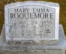 ROQUEMORE SIMMONS, MARY EMMA - Scott County, Arkansas | MARY EMMA ROQUEMORE SIMMONS - Arkansas Gravestone Photos