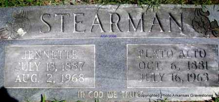 STEARMAN, PLATO ALTO - Scott County, Arkansas | PLATO ALTO STEARMAN - Arkansas Gravestone Photos