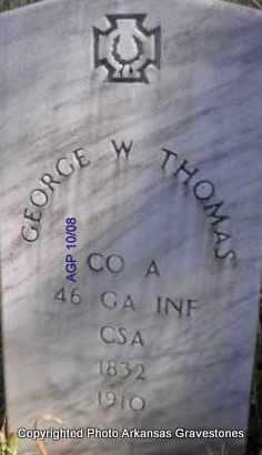 THOMAS  (VETERAN CSA), GEORGE W - Scott County, Arkansas | GEORGE W THOMAS  (VETERAN CSA) - Arkansas Gravestone Photos
