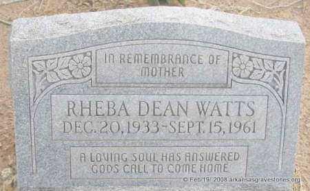 ALLEN WATTS, RHEBA DEAN - Scott County, Arkansas | RHEBA DEAN ALLEN WATTS - Arkansas Gravestone Photos