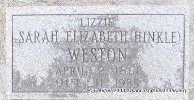 "HINKLE WESTON, SARAH ELIZABETH ""LIZZIE"" - Scott County, Arkansas | SARAH ELIZABETH ""LIZZIE"" HINKLE WESTON - Arkansas Gravestone Photos"