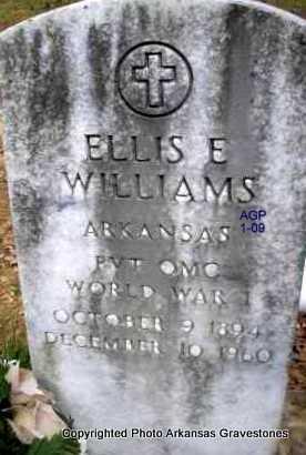 WILLIAMS  (VETERAN WWI), ELLIS E - Scott County, Arkansas | ELLIS E WILLIAMS  (VETERAN WWI) - Arkansas Gravestone Photos