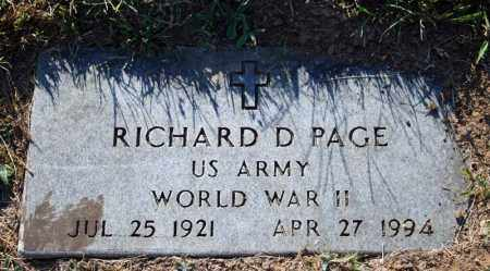 PAGE (VETERAN WWII), RICHARD D - Searcy County, Arkansas | RICHARD D PAGE (VETERAN WWII) - Arkansas Gravestone Photos