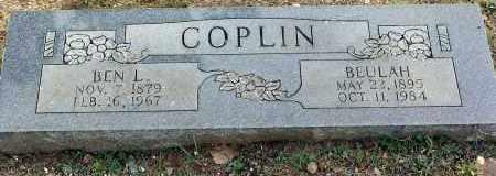 COPLIN, BEN L. - Sebastian County, Arkansas | BEN L. COPLIN - Arkansas Gravestone Photos
