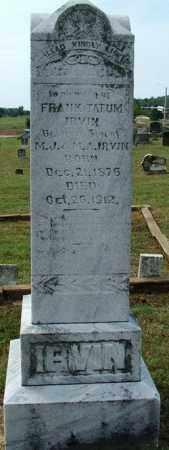 IRVIN, FRANK TATUM - Sebastian County, Arkansas   FRANK TATUM IRVIN - Arkansas Gravestone Photos