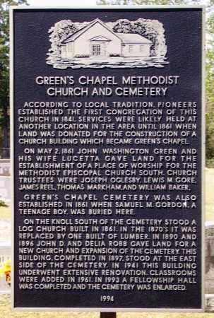 *GREEN'S CHAPEL HISTORIC SIGN,  - Sevier County, Arkansas    *GREEN'S CHAPEL HISTORIC SIGN - Arkansas Gravestone Photos