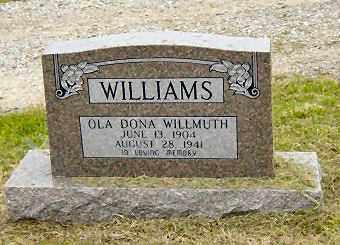 WILLMUTH WILLIAMS, OLA DORA - Sharp County, Arkansas   OLA DORA WILLMUTH WILLIAMS - Arkansas Gravestone Photos