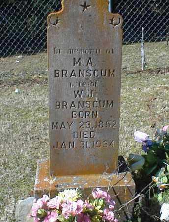 BRANSCUM, M. A. - Stone County, Arkansas | M. A. BRANSCUM - Arkansas Gravestone Photos